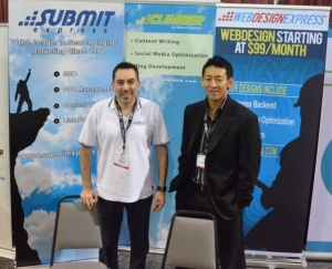 Pierre Zarokian and Staff Member at a Trade Show